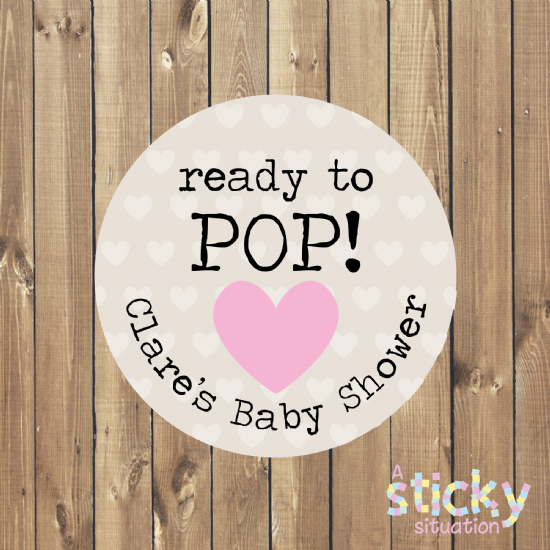 Personalised 'Ready to Pop' Baby Shower Stickers - Pink Heart Design